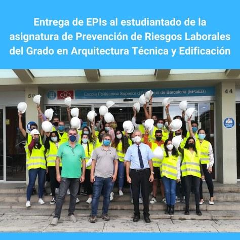 Entrega de EPIs al estudiantado de la asignatura de Prevención de Riesgos Laborales